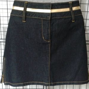 Denim with gold and zippers skirt NWT